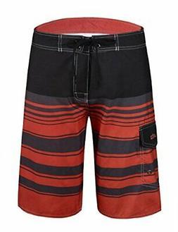 Unitop Men's Board Shorts Striped Plaid Surf Trunks, Orange