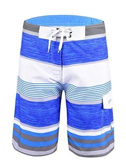 Unitop Men's Board Shorts Striped Plaid Swimwear Quick Dry S