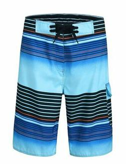 Unitop Men's Board Shorts Summer Holiday Striped Bathing Sui