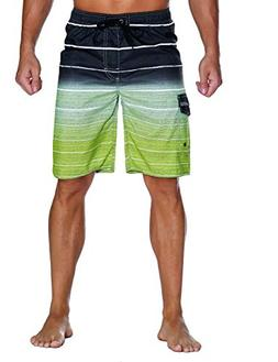 Unitop Men's Colortful Striped Swim Trunks House Beach Board
