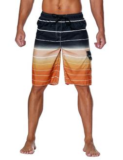 Unitop Men's Colortful Striped Swim Trunks Surfing Beach Boa