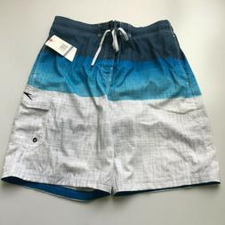 Speedo® Men's E-Board Swim Short-White/Blue  NWT!!