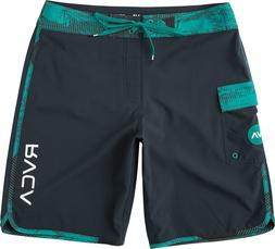 "RVCA Men's Eastern 20"" Boardshorts, Black and Teal, Size 36"