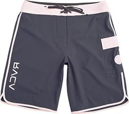 RVCA Men's Eastern Boardshort Trunk, Slate/Light Pink, 38