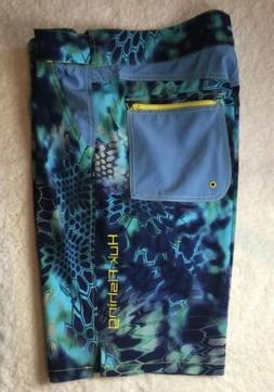 HUK Performance Fishing Men's Elements Swim Board Shorts Blu
