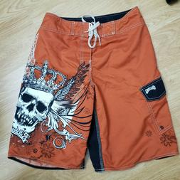 BILLABONG MEN'S FLAT PACKABLE SKULL EMBELLISHED BOARD SHORTS