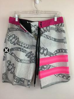Men's Hurley Phantom Board Swim Shorts, Size 34 - Pink/Grey/