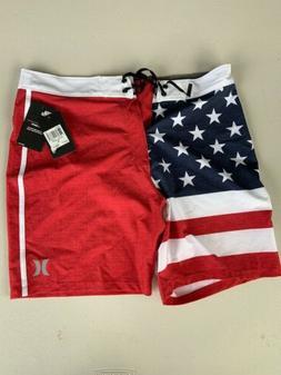 "Hurley Men's Phantom Size 32 Cheers USA 18"" Boardshorts Bran"