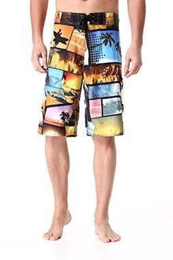 Clothin Men's Quick Dry Beach Boardshort Swim Trunks Swimmin
