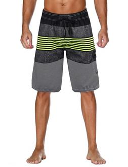 unitop Men's Quick Dry Striped Print Swim Trunk Surfing Beac
