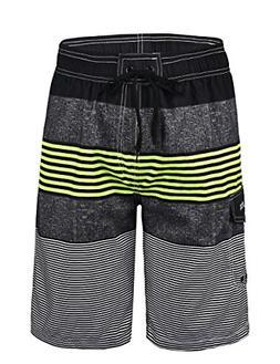 Unitop Men's Quick Dry Striped Print Swim Trunk Climbing Bea