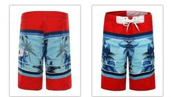 CLOTHIN MEN'S RED & BLUE TROPICAL PALM TREE BEACH SHORTS SWI