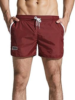 Neleus Men's Running Shorts Swim Trunks,721,Burgundy & Red,X