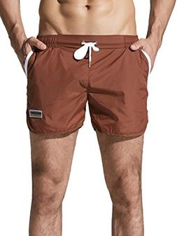 Neleus Men's Running Shorts Swim Trunks,721,Light Coffee,S,T