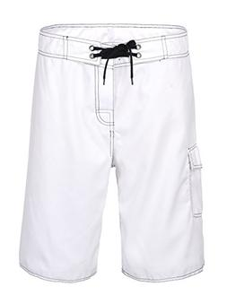 NONWE Men's Solid Lightweight Board Shorts with Lining White