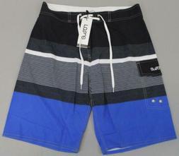 Nonwe Men's Striped Quick Dry Beachwear Board Shorts SD8 Gra