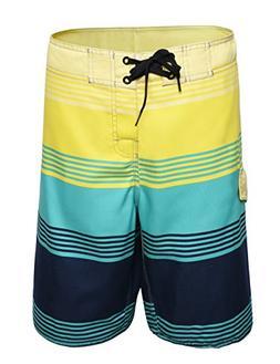 Nonwe Men's Striped Quick Dry Beachwear Board Shorts JFCB161