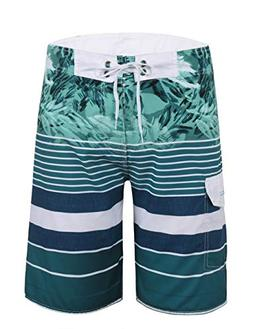 Unitop Mens Striped Boardshorts with Mesh Lining Green-33 42