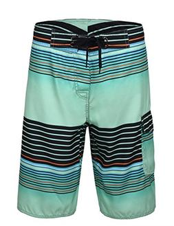 Unitop Men's Summer Holiday Stripped Quick Dry Board Shorts