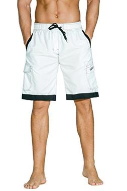 Nonwe Men's Surf Quick Dry Board Shorts with Drawsting White