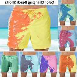 Men's Swim Shorts Color Changing Swimming Trunks Beach Board