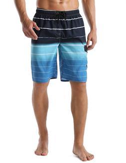 unitop Men's Swim Trunks Colortful Striped Beach Board Short