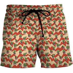 MOOCOM Men's Swimwear Grid,CactusWorkout Gym Running Tight L