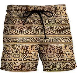 MOOCOM Men's Swimwear Grid,PrimitivePrinted Quick-Drying Swi