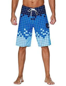 Nonwe Men's Swimwear Grid Printed Quick Dry Board Shorts Wit