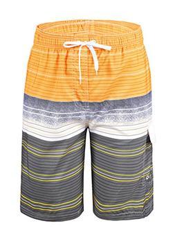 Nonwe Men's Swimwear Quick Dry Striped Board Shorts Striped