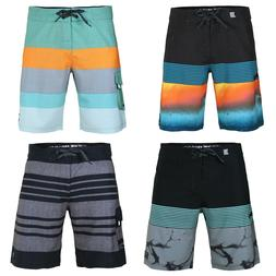 Men's Teen's Striped Board Shorts 34 Size Surfing Active Swi