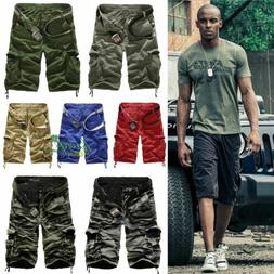 Men Sport Camo Cargo Shorts Military Combat Work Pants Multi