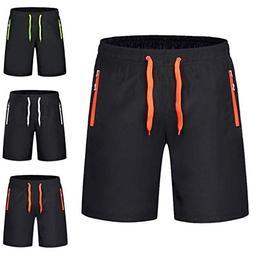 Men Swimwear Solid Swim Trunks Black Surf Shorts Swimsuits S