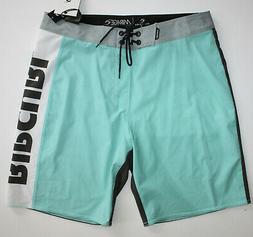 "Rip Curl Mens 32 Aqua Blue Gray Swim Surf 19"" Boardshorts MI"