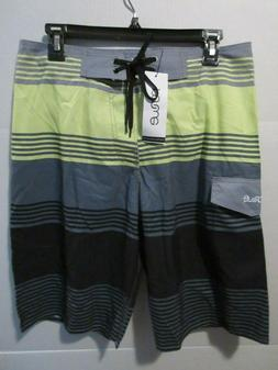 "Mens NONWE 32"" x 10"" Board Shorts Swim Trunks Gray Green Bla"