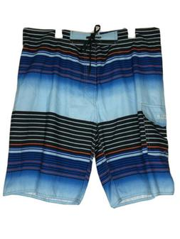Nonwe Mens 38 Swim Shorts Beach Board Swimwear Blue Stripe