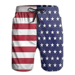 Liveupon Mens American Flag Summer Elastic Waist Beach Surfi