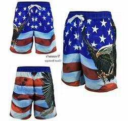 Men's American Flag Swim Trunks Board Shorts Bald Eagle US