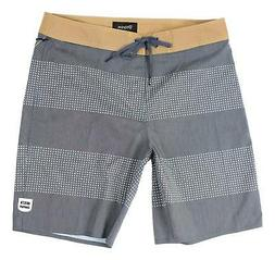 Brixton Mens Barge Stripe Trunk Boardshorts Navy Off White S