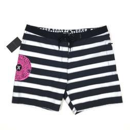 Hurley Mens Board Shorts Swim Trunks Size 36 Black Striped H