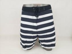 Hurley Mens Board Shorts Swim Trunks Size 40 Black Striped H
