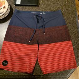 """Men's RVCA Boardshorts Swim Size 34 20"""" 4 Way Stretch NW"""