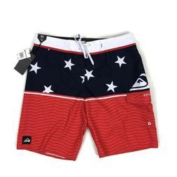Quiksilver Mens Boardshorts Swim USA Stars Stripes Blue Red