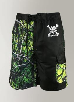 Mens Camo Swim Trunks / Board Shorts in Green Yellow & Black