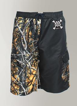 Mens Camo Swim Trunks / Board Shorts in Orange & Black Camou