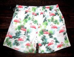 MENS FOREVER 21 FLAMINGO DRAWSTRING LINED SWIM BOARD SHORTS