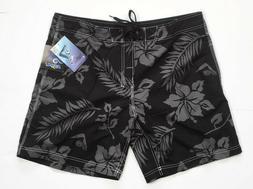 "Kanu Surf Mens Kauai 18"" Boardshort Black Floral Size 38"
