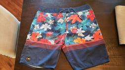 Men's O'Neill board shorts, Size 36, blue with Hawaiian