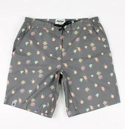 ourCaste Mens Patty Quick Dry Boardshorts Black Floral Size