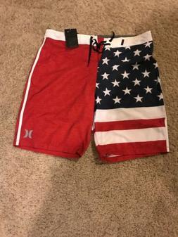 "Men's HURLEY PHANTOM CHEERS USA AMERICAN FLAG 18"" BOARD"